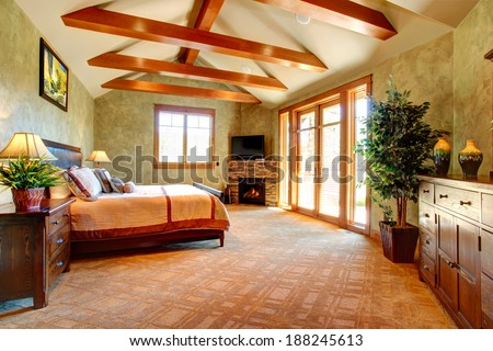 Beautiful bedroom of light green tones with ceiling beams and stone background fireplace. Tropical theme complete with decorative tree in a pot - stock photo