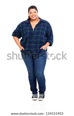 beautiful big young woman in jeans isolated on white background - stock photo