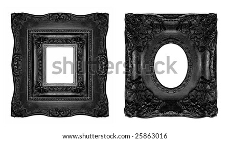 Beautiful black baroque frames, similar available in my portfolio - stock photo