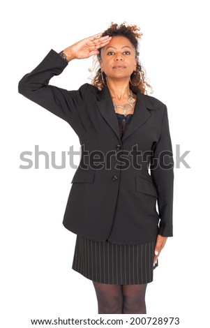 Beautiful black businnesswoman doing different expressions in different sets of clothes - stock photo