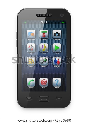 Beautiful black smartphone, 3d render. Smart phone with icons on screen isolated  over white - stock photo