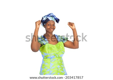 Beautiful black woman doing different expressions in different sets of clothes: arms raised - stock photo