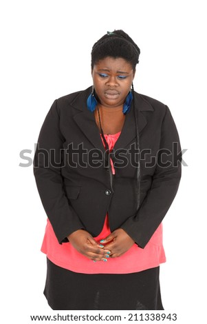 Beautiful black woman doing different expressions in different sets of clothes: sad - stock photo