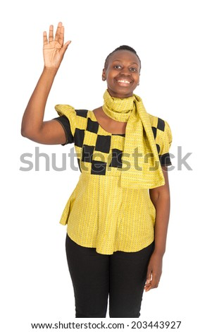 Beautiful black woman doing different expressions in different sets of clothes: waving - stock photo
