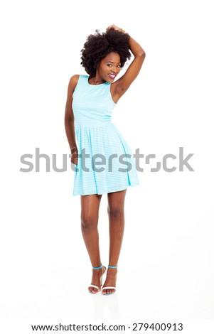 beautiful black woman full length on white background - stock photo