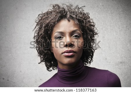 Beautiful black woman look - stock photo