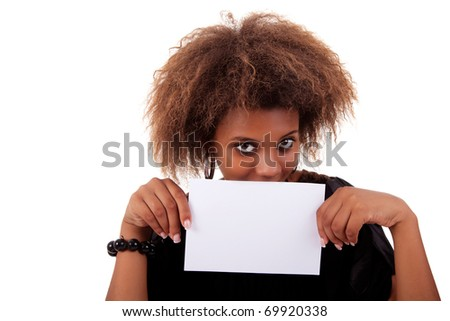 beautiful black woman person with blank business card in hand, isolated on white background. Studio shot. - stock photo