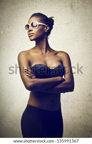 beautiful black woman with sunglasses - stock photo