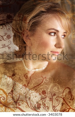Beautiful blond bride with soft make-up on grunge background with swirls and scrolls - stock photo