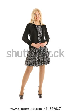beautiful blond business woman standing isolated on white - stock photo