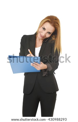 beautiful blond businesswoman talking on mobile phone smiling holding pen writing notes on notepad folder happy and confident in communication concept isolated on white background - stock photo