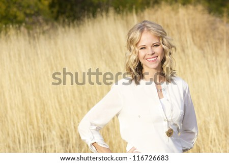Beautiful Blond Confident Woman Portrait - stock photo