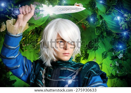 Beautiful blond elf with a dagger in his hand in the magic forest. Fantasy. Anime style. - stock photo