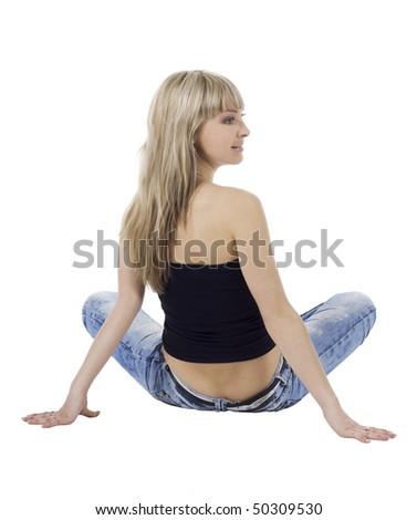 Beautiful blond girl isolated on white - stock photo