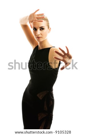 Beautiful blond girl isolated on white background - stock photo