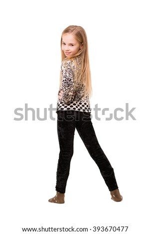 Beautiful blond girl posing in casual clothes. Isolated on white - stock photo