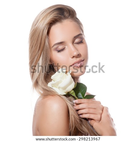 Beautiful Blond Girl With White Rose - stock photo