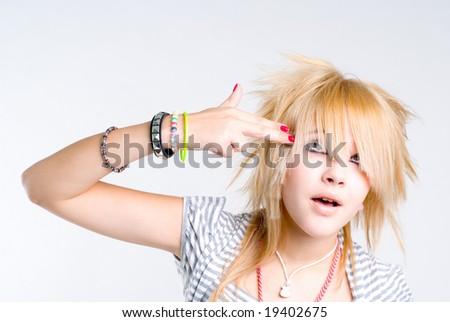 Beautiful blond grungy girl - stock photo