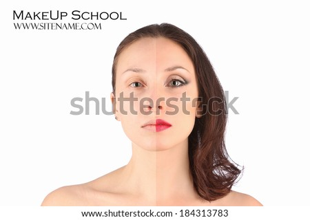 Beautiful blond woman: before and after makeup - stock photo