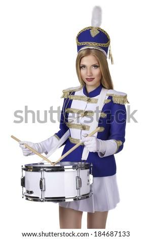 beautiful blond woman drummer  - stock photo