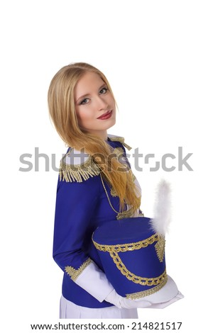 beautiful blond woman drummer isolated on white background  - stock photo