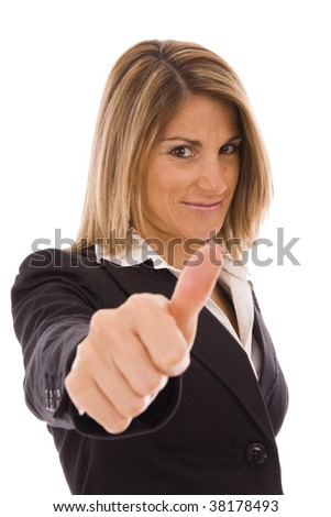 Beautiful blond woman giving thumb up - stock photo