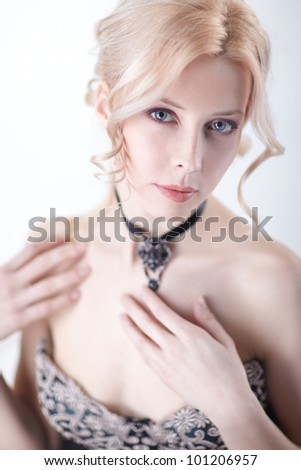 beautiful blond woman portrait and shoulder over white - stock photo