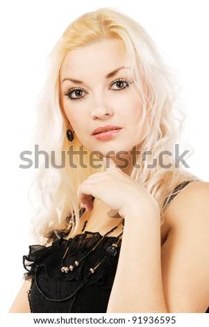 Beautiful blond woman studio portrait - stock photo