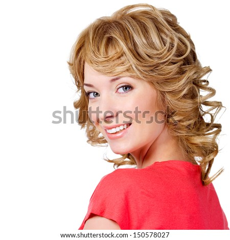 Beautiful blond woman with curly hair - isolated on white background - stock photo