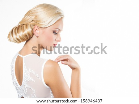 Beautiful blond woman with hairstyle - isolated on white  - stock photo