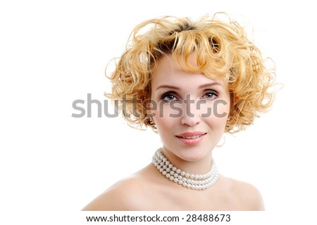 Beautiful blond young woman face with curly hairs - isolated 0n white - stock photo