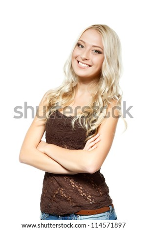 Beautiful blond young woman looking at camera and happy smiling. Isolated on white background - stock photo