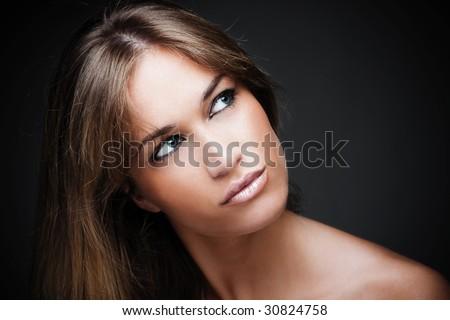 beautiful blond young woman portrait - stock photo
