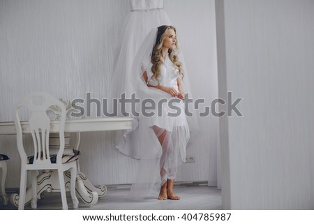 Name please young beautiful bride preparing good