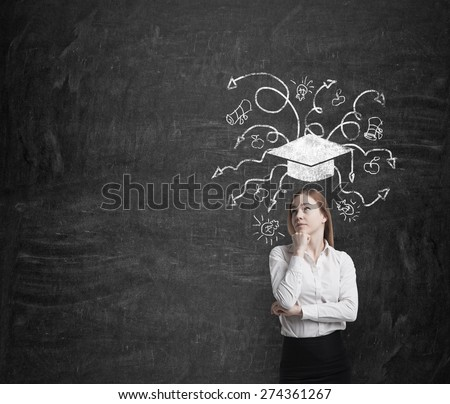 Beautiful blonde business woman is thinking about further business education. A concept of MBA programmes. - stock photo