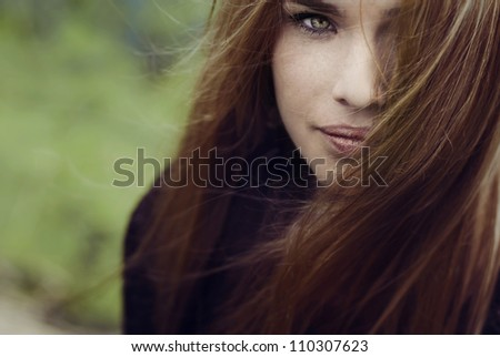 beautiful blonde face close-up - stock photo