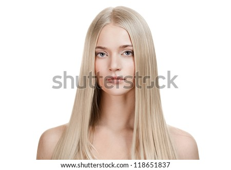 Beautiful Blonde Girl. Healthy Long Hair - stock photo