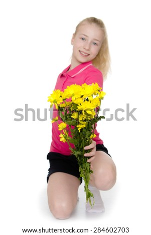 Beautiful blonde girl holds up a in his hand a bouquet of yellow flowers- isolated on white background - stock photo