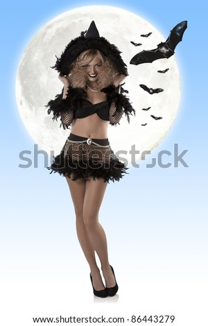 beautiful blonde girl in a glamour shot wearing a halloween dress with black hat, with moon behind and some bat flying - stock photo