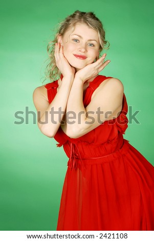 beautiful blonde in red - stock photo