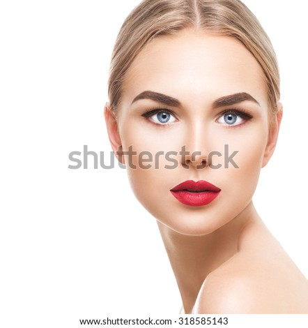 Beautiful blonde model woman face with blue eyes and perfect make-up isolated on white background. Portrait of beauty young blond girl with red lips. Female face with clear skin close-up. Skincare - stock photo