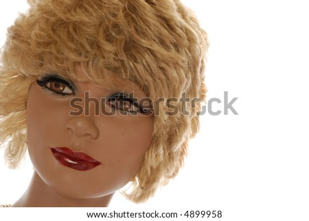 beautiful blonde store dummy isolated on white - stock photo
