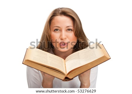 Beautiful blonde student woman with book - stock photo