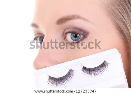 beautiful blonde with artificial eyelashes - stock photo