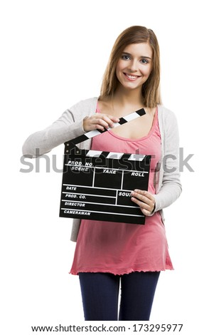 Beautiful blonde woman holding  a clapboard, isolated over white background - stock photo