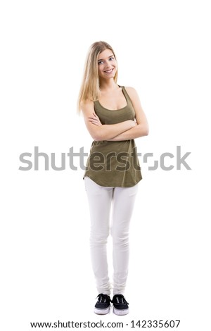 Beautiful blonde woman smiling with hands folded, standing over white background - stock photo