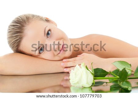 beautiful blonde woman with white rose - stock photo