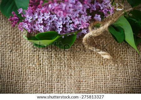 beautiful blooming lilac on the table of burlap - stock photo