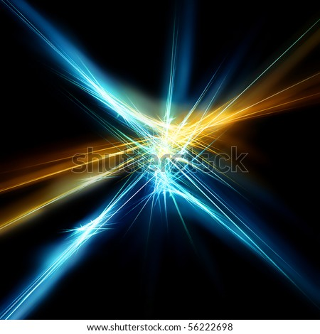 Beautiful blue and gold star. Fractal - stock photo