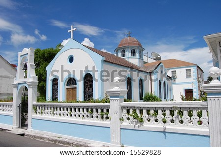 Beautiful blue and white church at an angle in the bahamas. - stock photo
